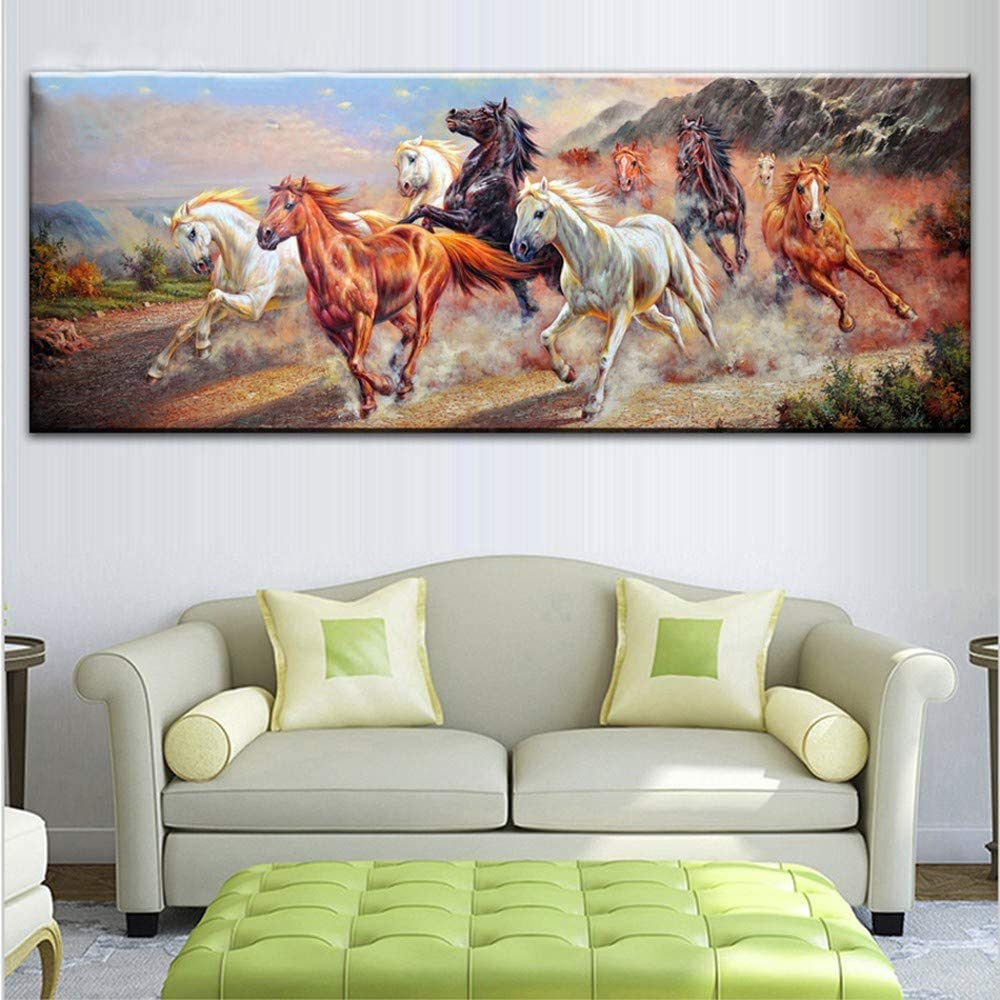 DIY Pintura de Diamante Kit Full Drill Talla Grande Diamond Painting Bordado Caballos en Punto de Cruz Cristal Para Manualidades Decor pared del Hogar Diamante Cuadrado 70x140cm H9283