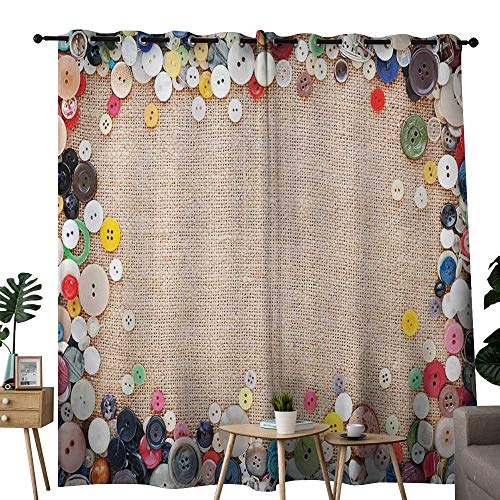 (Blackout Curtains 2 Panels Vintage,Buttons Collection Fabric Texture Canvas Frame Sewing Needlecraft Contemporary Picture,Light Brown,for Room Darkening Panels for Living Room, Bedroom 84