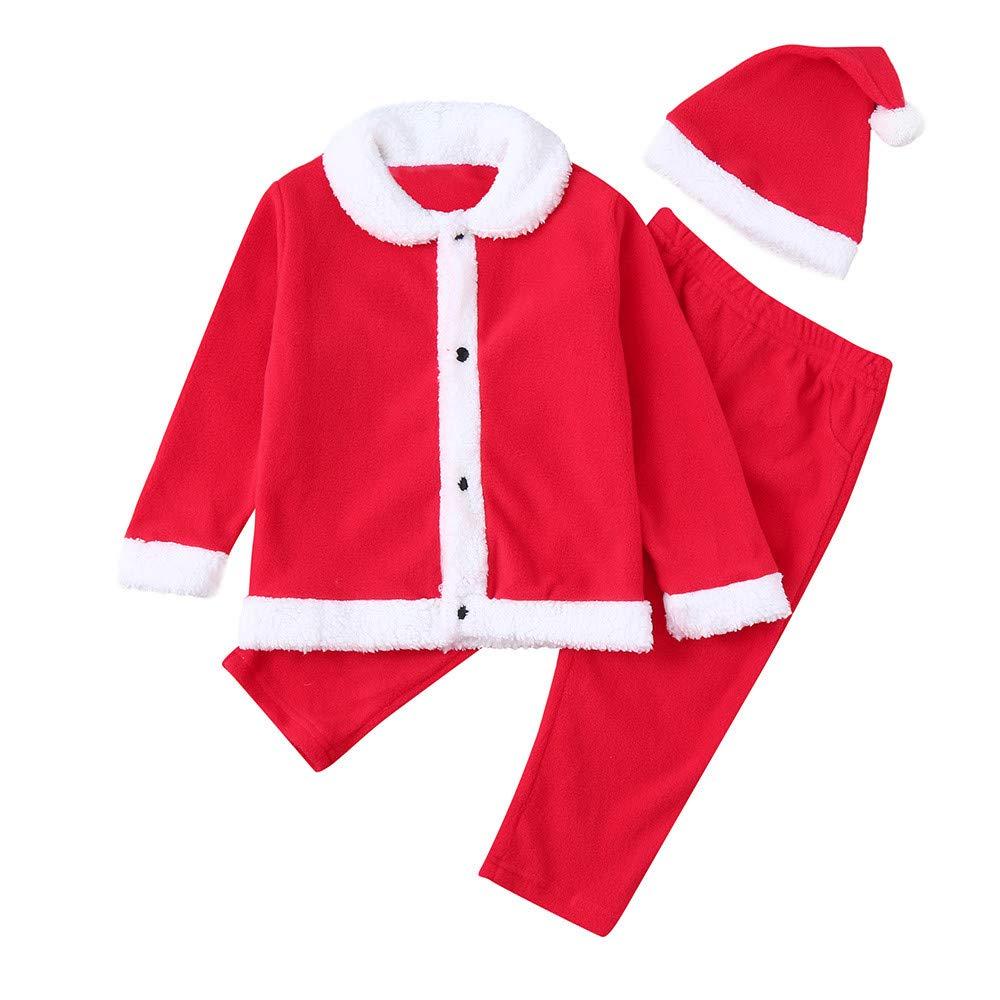 Homebaby 3PCS Bambino Ragazzo delle Neonate Babbo Natale Pullover Top in Vello + Pantaloni + Cappello Impostato Costume di Natale Regalo Bambini