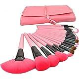 Leegoal Professional Bridal Eye Lip Powder Face Makeup Brush Set With Leather Bag (24pcs,Pink)