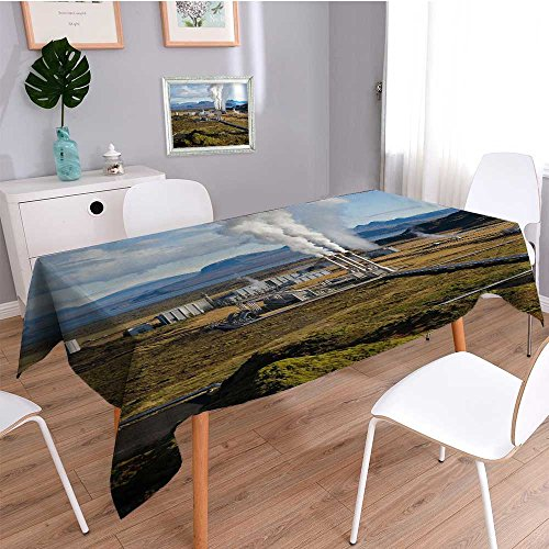 Auraisehome Spillproof Fabric TableclothSuburban geothermal energy plant wear-resistant, washable, anti-liquid spill
