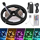 #3: Sunnest 16.4ft LED Flexible Strip Lights, 150 Units SMD 5050 LEDs, Non-Waterproof 12V DC Light Strips, RGB LED Light Strip Kit with 44Key Remote Controller and Power Supply for Kitchen Bedroom Car Bar