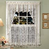 """Hopewell Lace Kitchen Curtain - 24"""" tier (pr) - WHITE"""