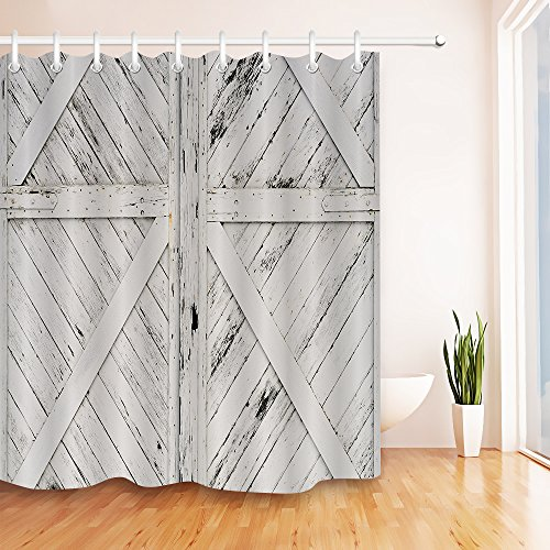Rustic Barn Door White Painted Barn Wood Decor Shower Curtain for Bathroom by LB, Western Country Theme House Decor, Mildew Resistant Waterproof Fabric Decor Curtain, 72 x 72 - Wood Painted Rustic