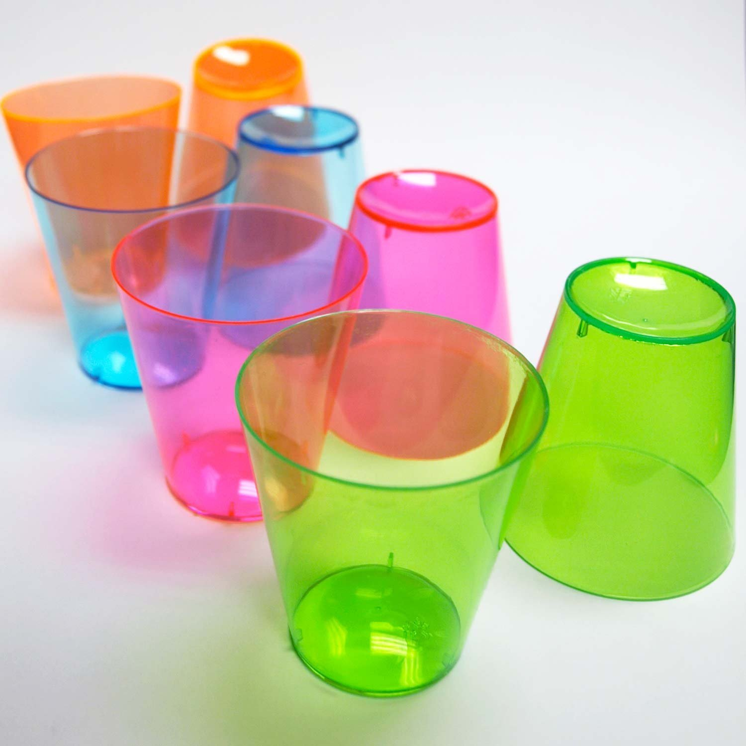 Party Essentials N212009 Hard Plastic 2 oz. Shot Glasses, Assorted Neon (Pack of 1200)