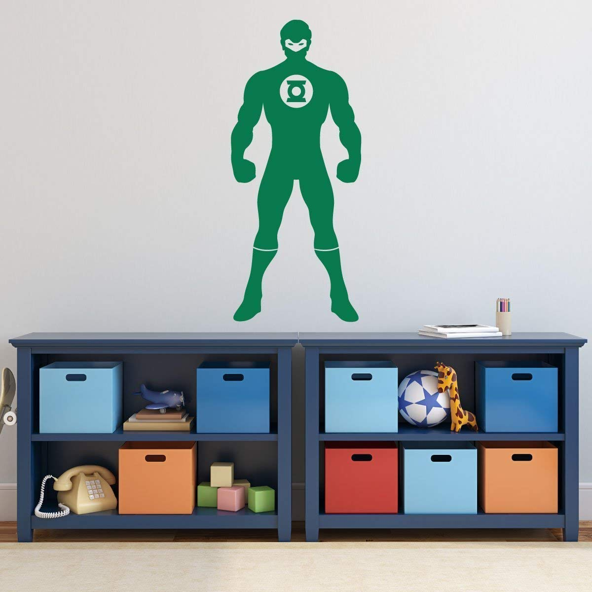 DC Comics Figure Silhouette Vinyl Wall Decal Green Gray Decoration for Playroom Boys Room Birthday Party Custom Boy Name Green Lantern Superhero Decor Black Other Colors Red Yellow White