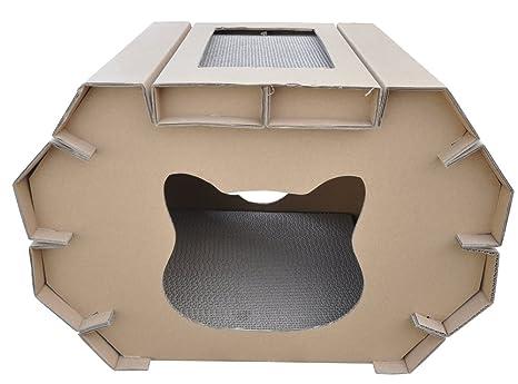 CA&T - Casa para Gatos reciclable para arañar y Dormir