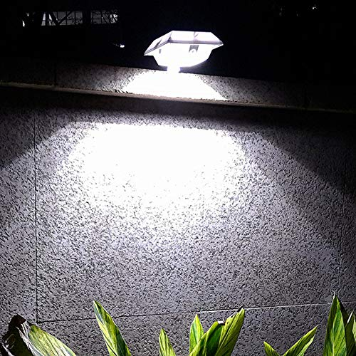 MEIHONG 2 Pack Solar Motion Sensor Security Light, Solar Powered Fence Gutter Light, Super Bright 4 LED Solar Light, Solar Accent Light, Solar Post Light, Detector Lighting for Gutter Fence -