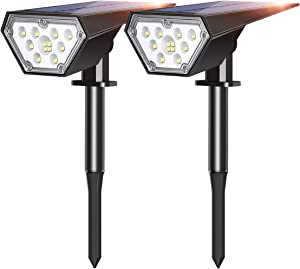 Tranmix Solar Landscape Spotlight 12 LEDs Two Brightness Level Solar Powered Ground Lights/Wall Light 2-in-1 for Yard, Garden, Driveway, Porch, Walkway, Pool, Patio - Warm White
