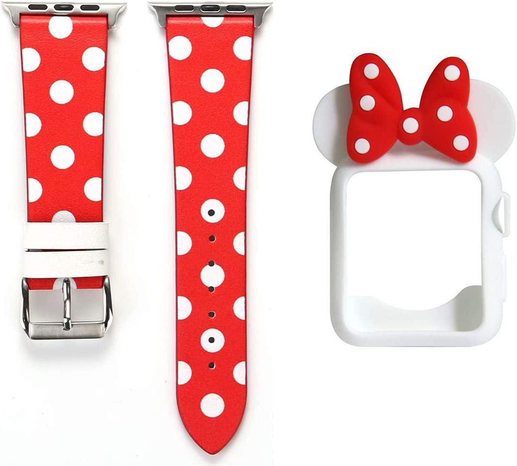 Smarmate Women Girls Band Case Kit, Polka Dots Leather Band and Cute Bowknot Silicone Protective Bumper Case Compatible with 38mm Apple Watch Series 3/2/1 (Red & White)