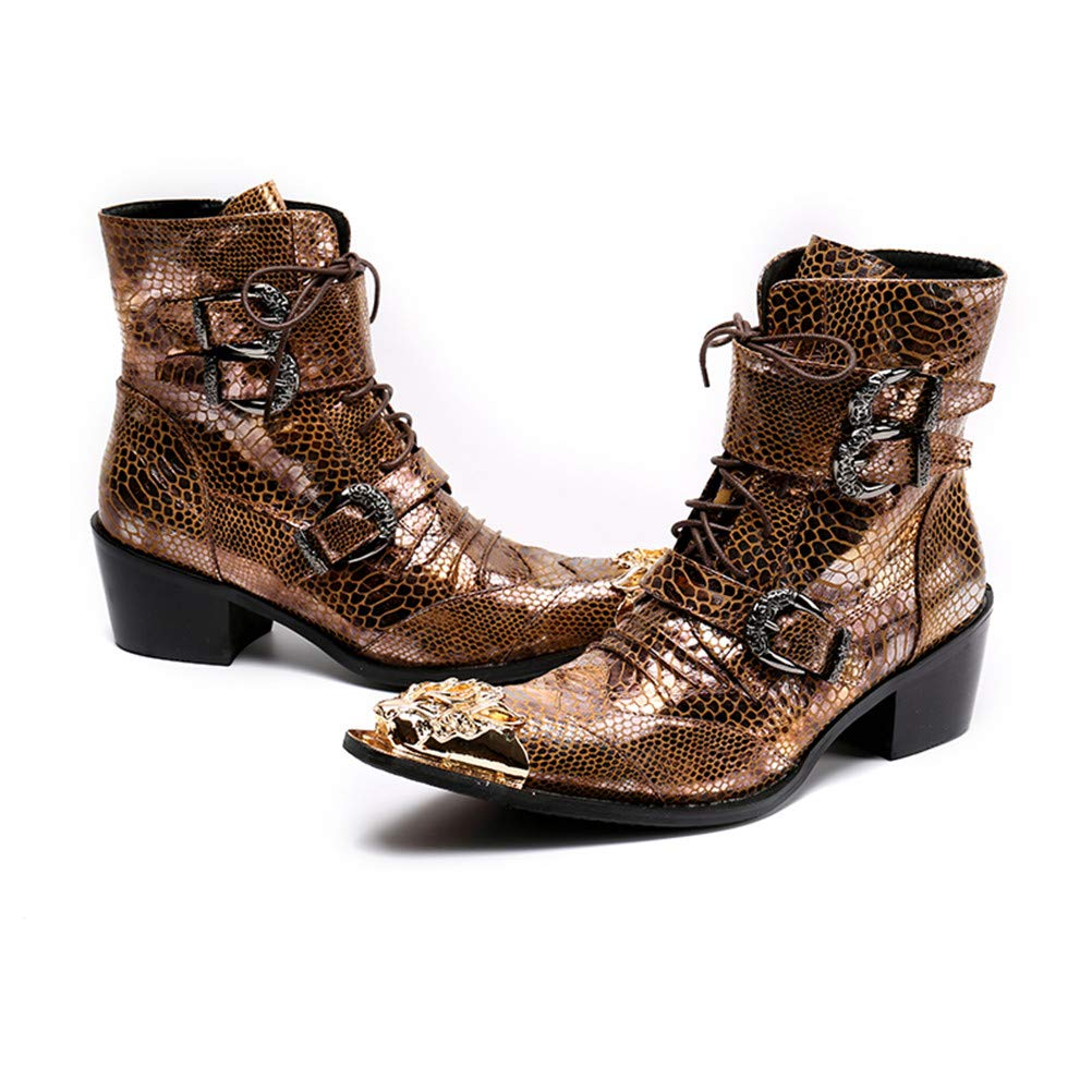 Jiahe Mode Vintage Martin Stiefel Stiefel Stiefel Unisex Stiefel Leder Herbst Winter lncrease Stiefel mid-Calf Stiefel Farbblock Gold Party,40 e0792b