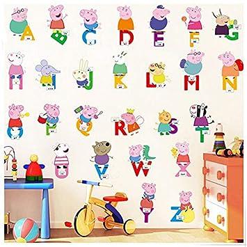 JUNMAONO Peppa Pig Wandaufkleber/Wandgemälde/Wand Poster/Wandbild ...