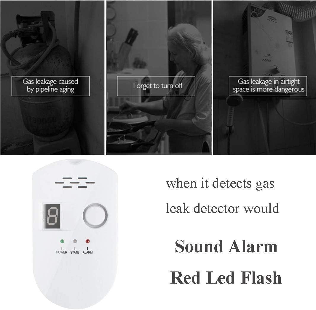 1, White Gas Leak Detector Household Propane Leak Detector for Home Kitchen Natural Gas Detector