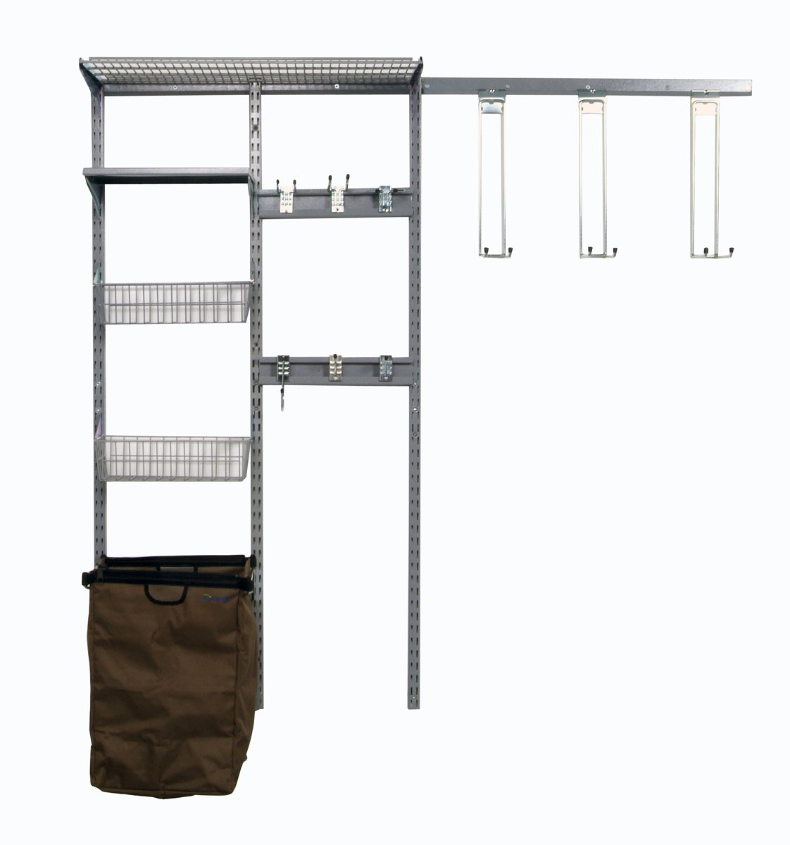 Triton Products 1760 Storability Wall Mount Storage System 66-Inch L by 63-Inch H with Heavy Duty Hanging Hooks, Shop/Rag Bag, Wire Shelf, 2 Wire Baskets, Steel Shelf and Hardware