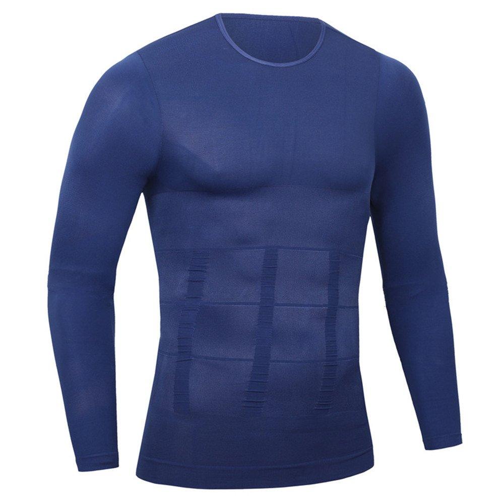 topshionスポーツSculpting腹部タイトボディ伸縮性長袖アンダーシャツメンズコルセットシェイプウェア Medium ブルー B079CFXZR2