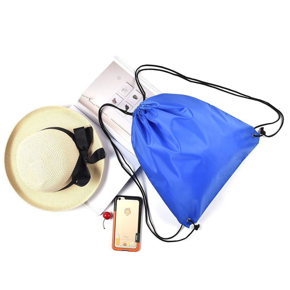 Iumer Waterproof Drawstring Bag Backpack Swim School Gym Outdoor PE Sports Sack Bags Blue