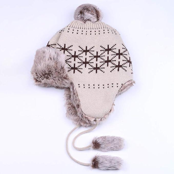 BARRYKONE - Gorro de Invierno para Mujer, Forro Polar, Doble Capa ...