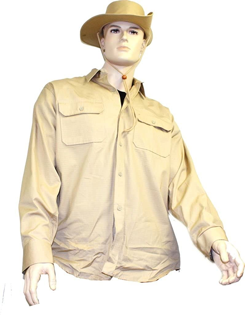 Khaki, 3XL Mil-Tec Long Sleeve Tropical Shirt