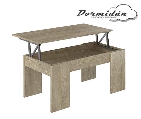 Dormidán- Mesa de Centro elevable, Comedor o Auxiliar, Mayor Grosor y  Estabilidad (Roble)