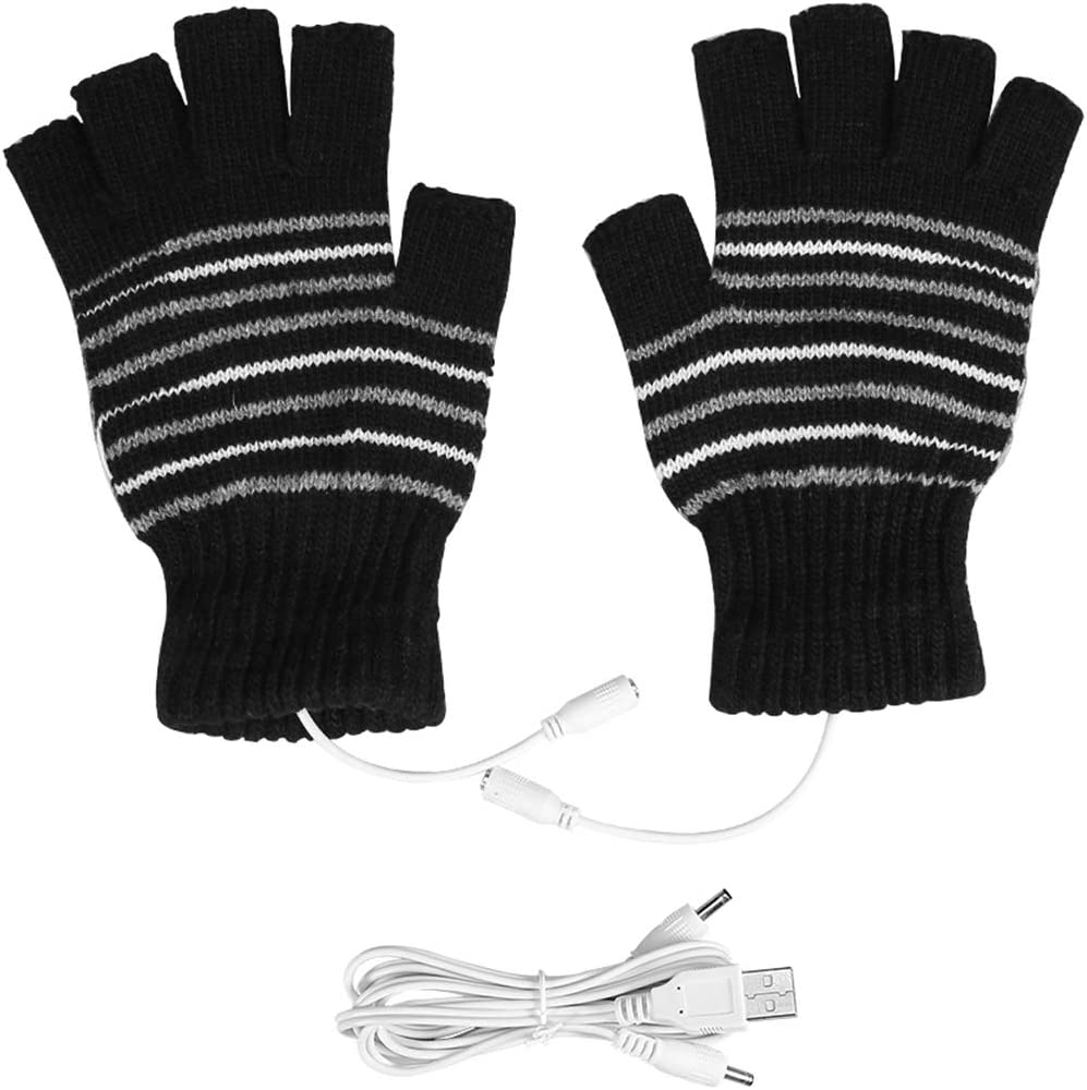 USB Heated Stripes Gloves for Men and Women Mitten, Unisex Knitting Wool Heated Gloves Hands Warmer Laptop Gloves Fingerless Washable (Black & Strips)