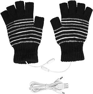 USB Heated Stripes Gloves for Men and Women Mitten, Unisex Knitting Wool Heated Gloves Hands Warmer Laptop Gloves Fingerless Washable (Black & Strips)