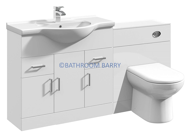 gloss gloss modular bathroom furniture collection. 1450mm Modular High Gloss White Bathroom Combination Vanity Basin Sink Cabinet, WC Toilet Furniture \u0026 BTW Pan: Amazon.co.uk: Kitchen Home Collection I