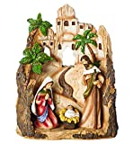 Nativity Figures 30331 10'' Carved Inn Scene with Holy Family Home Decor