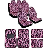 13-Piece Safari Animal Print Automotive Interior Gift Set - 2 Zebra Black and Pink Low Back Front Bucket Seat Covers wit