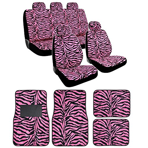 Pink Zebra Seat Covers Floor Mats Full Set
