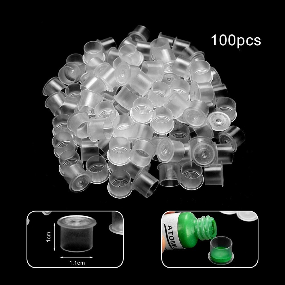 LiPing Disposable Tattoo Ink Caps for Man Women/Body Paints Temporary Tattoo Designs (S, 100)