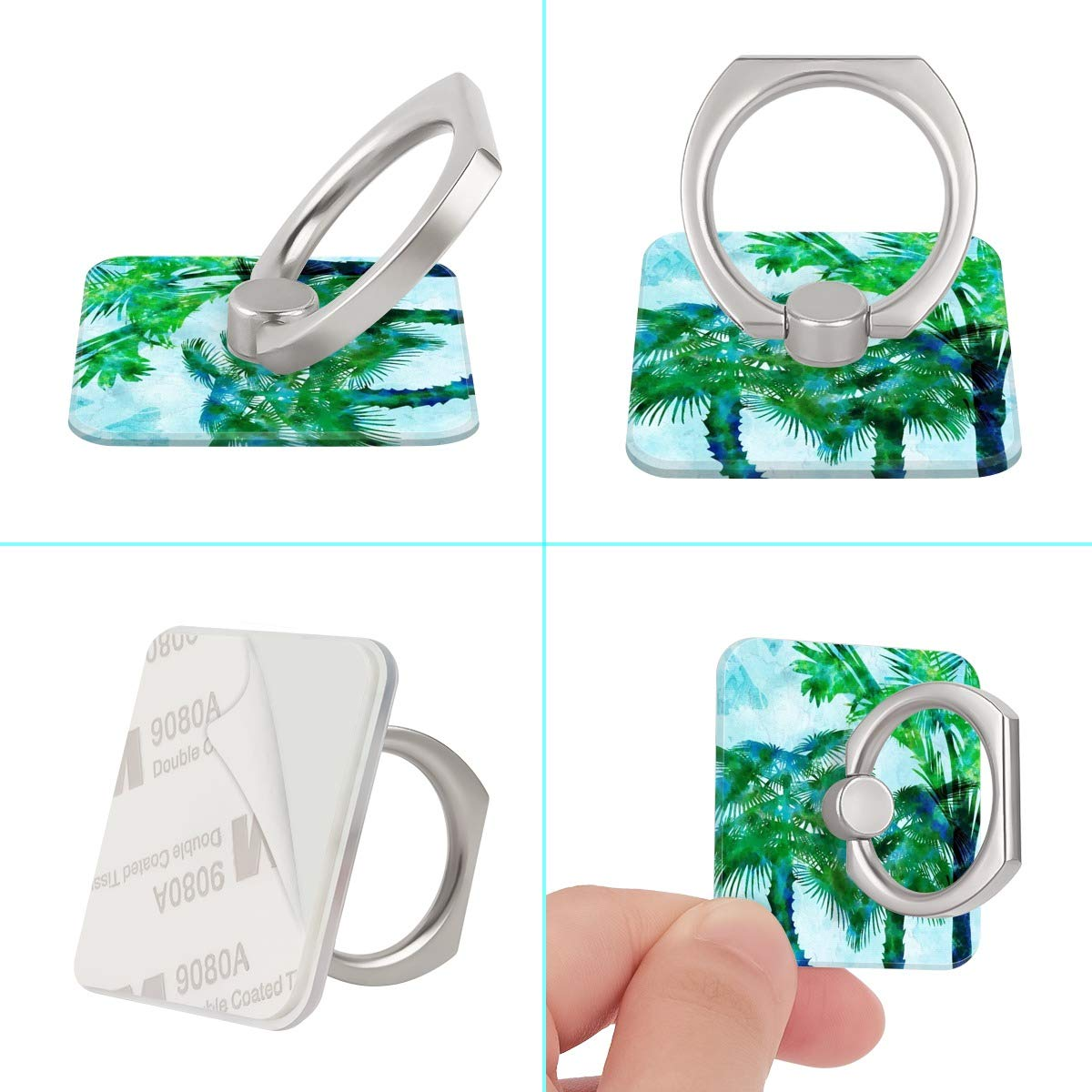 Watercolor Painting Palm Tree Ring Phone Holder Stand Mounts for iPhone iPad, Samsung Other Smartphones by BoBuBa-L (Image #2)