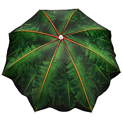 iConcern Sand Anchor 6.5 ft. Beach Umbrella with Tilt and Height Adjustable Connector UV Protection UPF 50+ (Banana Leaf). : Garden & Outdoor