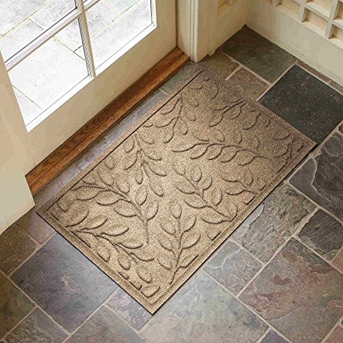 Leaf Design Entryway Rug With Non Slip Rubber Backing   Front Door Mat    Outdoor Indoor Entrance Doormat Or Kitchen Rug   Made In USA (Camel)