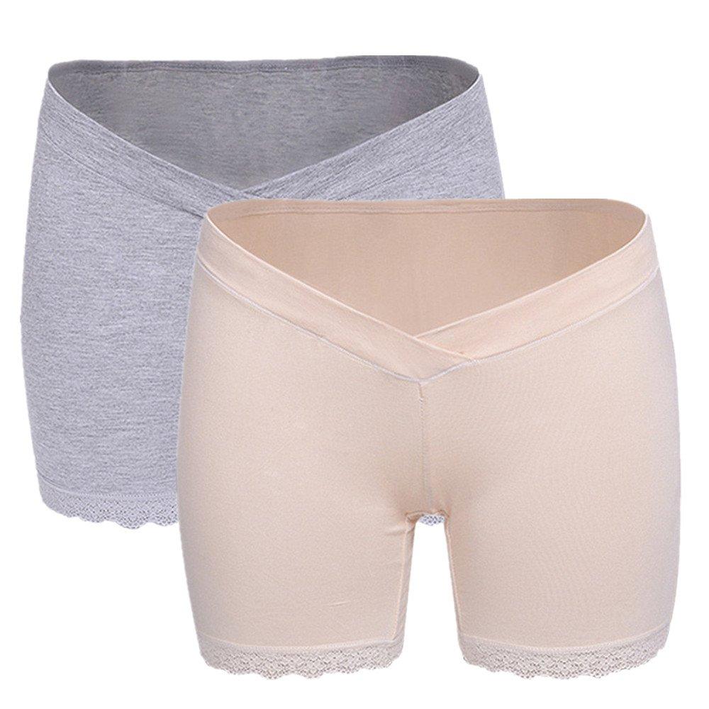 2 Pcs Maternity Non-Trace Cotton Underwear Maternal Postpartum Low Waist Brief Beige Grey M