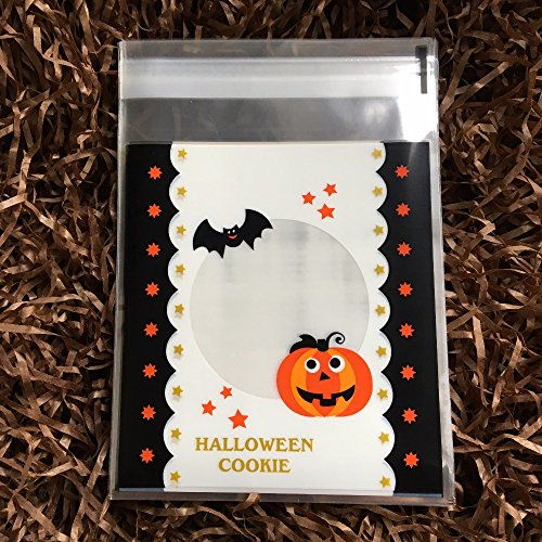 Saasiiyo 100 pcs/lot Halloween Cookie Biscuit Packaging Bag Clear Cookie Packing Plastic Candy Bags For Halloween (Halloween Costumes Nyc Rent)