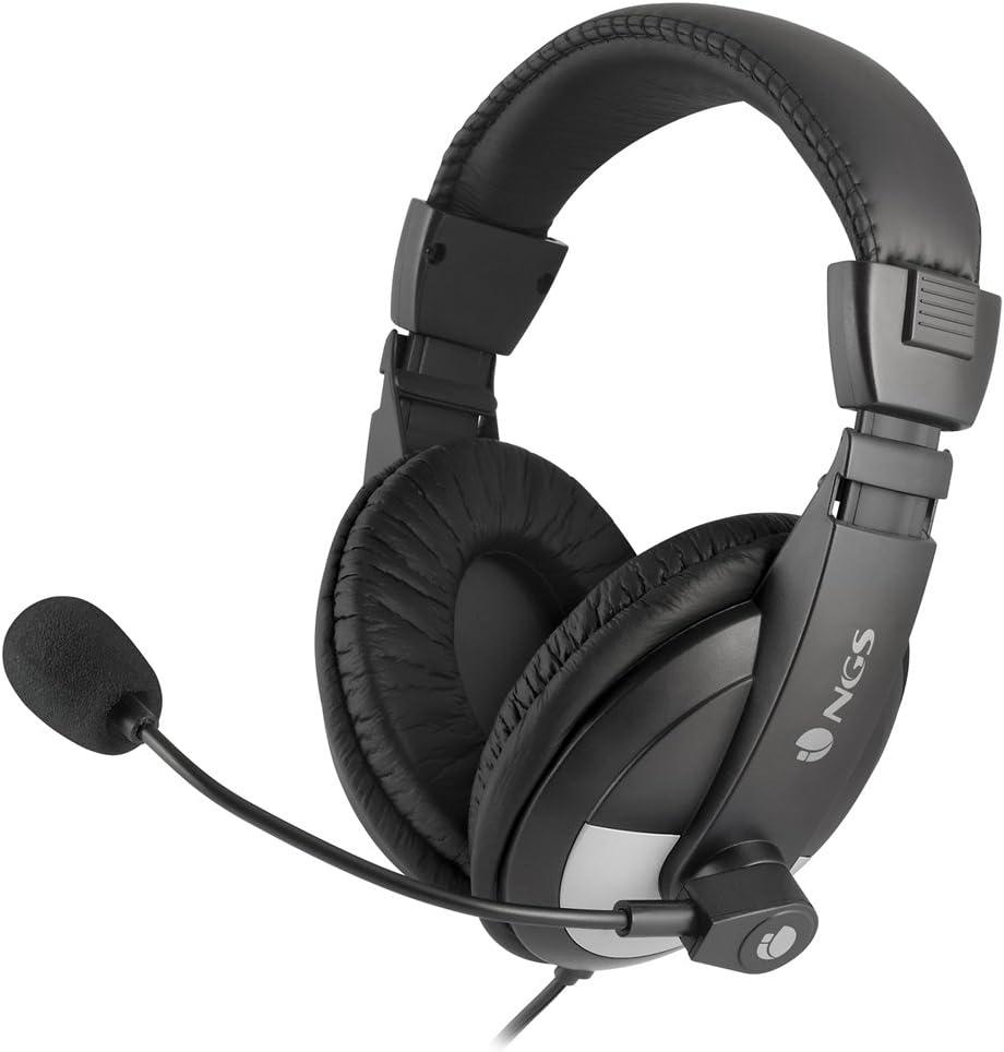 NGS MSX9 Pro Binaural Diadema Negro Auricular con micrófono - Auriculares con micrófono (PC/Juegos, Binaural, Diadema, Negro, Alámbrico, 2,2 m)