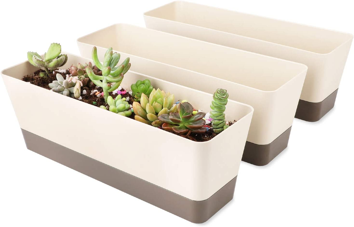 Rectangle Planter for Plants, Suream 3 Pack 12x3.8 Inch Modern Small Succulent Cactus Indoor Window Boxes with Saucer Plastic Plant Pots for Windowsill, Garden Balcony, Home Office Outdoor Decoration