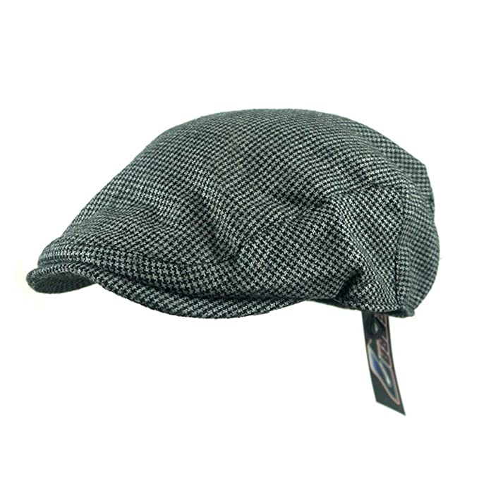 Zhide Men Winter Warm Wool Tweed Flat Cap Houndstooth Beret Newsboy Cap Hat  (NO4) 0efc237f968