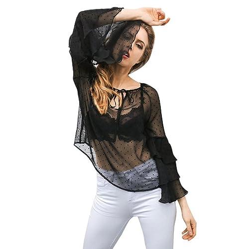 Mujer camisa de manga larga, Yannerr moda de ocio volante camisa Femme Lace hasta las señoras blusa ...