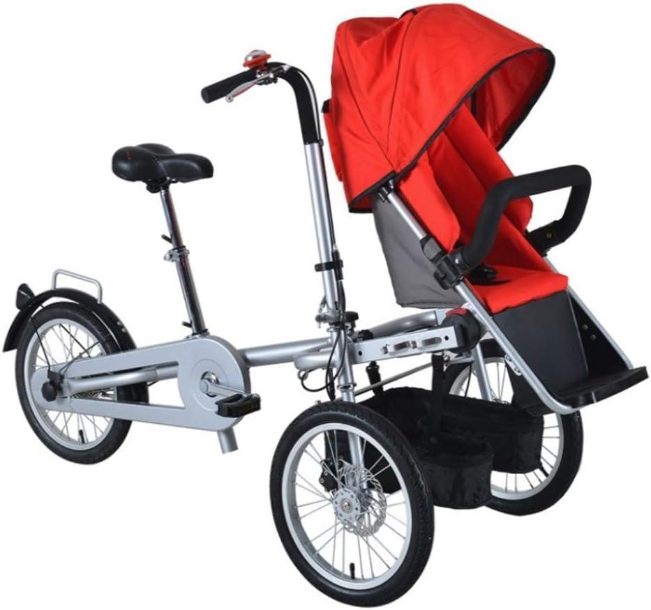 YUHT Cochecito de bebé Doble 2-en-1,Bicicletas de Equilibrio para bebés, para niños Cochecito de Bicicleta Doble Triciclo Plegable Dos Asientos Usados Unisex para Adultos,Red