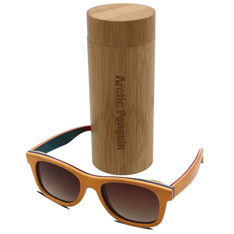 Arctic Penguin Skateboard Wooden Polarized Wayfarer Sunglasses