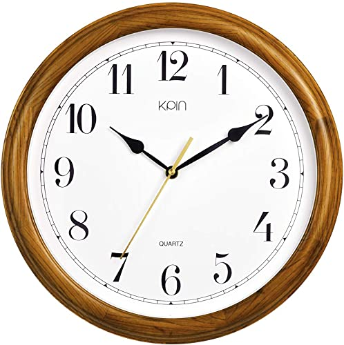 Kpin 14 inch Silent Quartz Decorative Real Wood Wall Clock Modern Style Good for Living Room Home Office Cherry Wood, 14 Inch