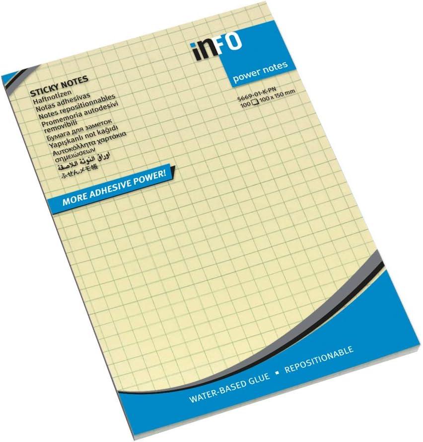 Bloc de notas amarillas cuadriculadas, 100 x 150 mm, sello FSC, 100 hojas por bloc, 12 bloques por paquete