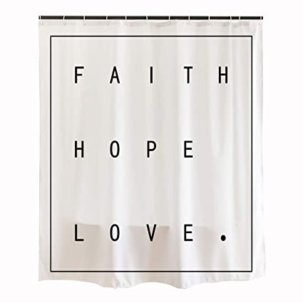 Orange Design Inspirational Bible Scripture Quotes Shower Curtain With Plastic Hooks 71x71