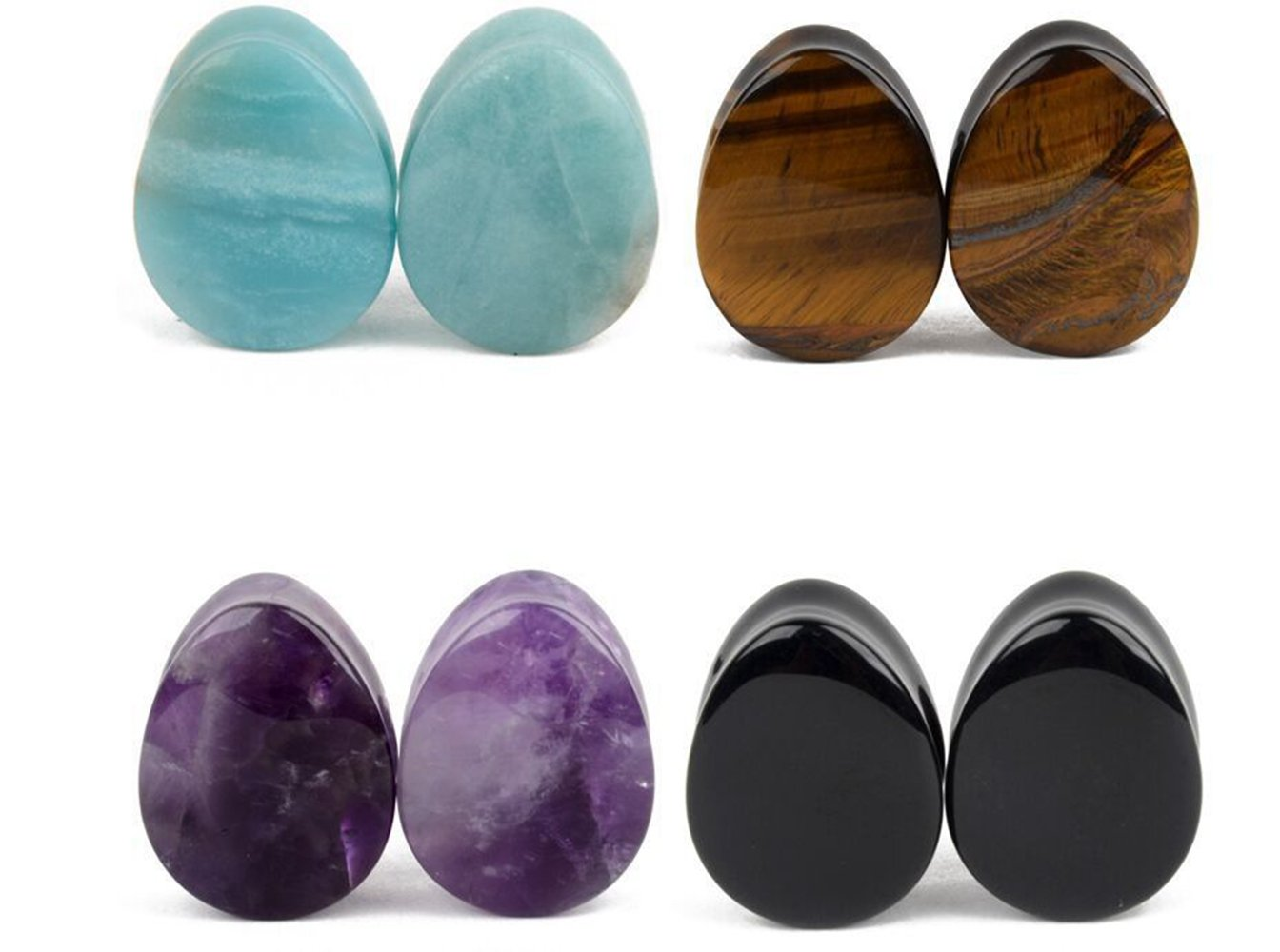 4 Pairs Natural Mixed Opalite Stone Plug Double Flared Flesh Tunnels Ear Stretcher Piercing Gauges (Guage=00g(10mm))