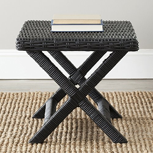 Safavieh Home Collection Manor Wicker Bench, Black