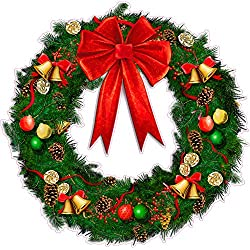 """Christmas Wreath with Ribbon and Bells Wall Decor Large Decal 24"""" x 24"""" Decal Fast from the United States"""