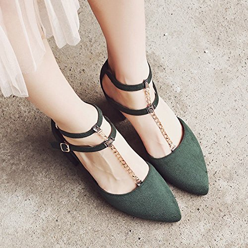 Mee Shoes Women's Chic Mid Heel Ankle Strap Buckle Court Shoes Green E0JfQ