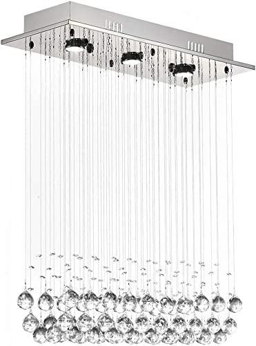 7PM H39 x W25 Modern Chandelier Rain Drop Lighting Crystal Ball Fixture Pendant Ceiling Lamp for Dining Room Over Table