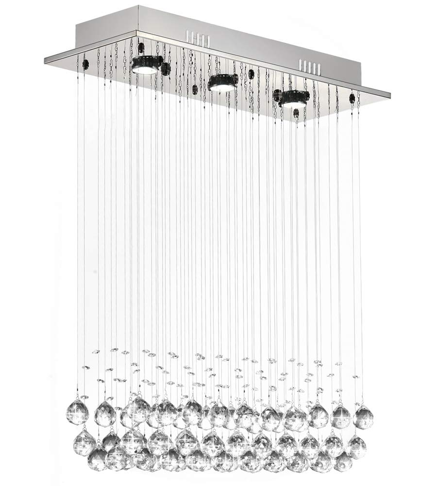 7PM H39'' x W25'' Modern Chandelier Rain Drop Lighting Crystal Ball Fixture Pendant Ceiling Lamp for Dining Room Over Table by 7PM